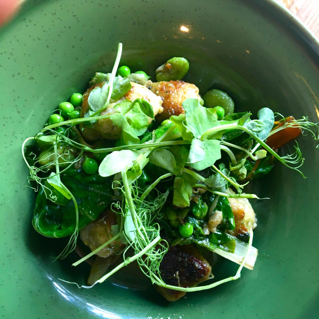 Cornish Blue Cheese Gnochi, Broad Beans, Peas & Beurre Noisette